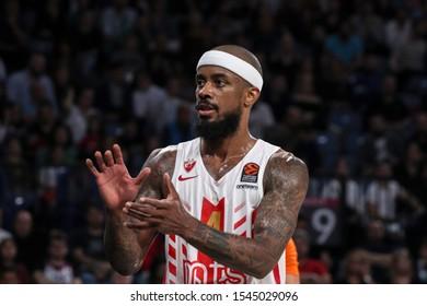 ISTANBUL / TURKEY, OCTOBER 29, 2019: Lorenzo Brown during EuroLeague 2019-2020 Round 5 basketball game between Anadolu Efes and Crvena Zvezda at Sinan Erdem Dome.