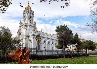 Istanbul, Turkey - October 29, 2019: Bulgarian Sveti Stephen Church (Iron Church) (Turkish:Demir Kilise) in Golden Horn, Balat, Istanbul, Turkey. 120 years old Bulgarion Orthodox Iron Church in Istanb