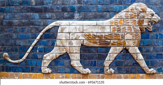ISTANBUL, TURKEY - OCTOBER 30, 2015: Glazed brick panel with Lion - details of the Babylonian Ischtar Tor (Ishtar Gate) in the Istanbul Archaeology Museum.