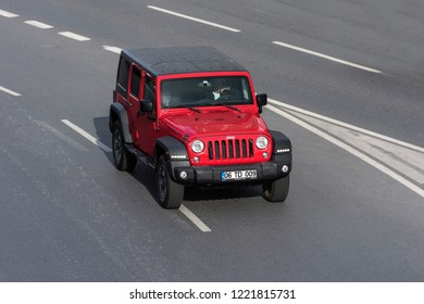 ISTANBUL / TURKEY - OCTOBER 30, 2018 : JEEP Wrangler Rubicon on the road. Wrangler is a compact SUV manufactured by Chrysler.