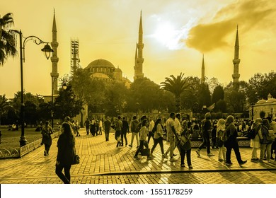 Istanbul, Turkey - October 30, 2019: Popular known as the Blue Mosque, the people walking in the square in front of the Sultan Ahmed Mosque in Istanbul