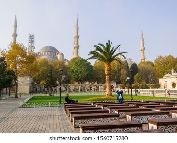 Istanbul, Turkey - October 30, 2019: View of the Sultan Ahmed Mosque (or The Blue Mosque).