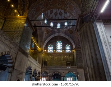 Istanbul, Turkey - October 30, 2019: View of the interior of the Sultan Ahmed Mosque (or The Blue Mosque).