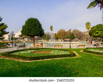 Istanbul, Turkey - October 30, 2019: View of the Sultan Ahmed Maydan Fountain.