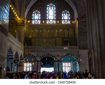 Istanbul, Turkey - October 30, 2019: People in the Sultan Ahmed Mosque (or The Blue Mosque).