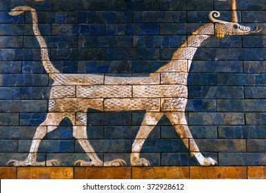 "ISTANBUL, TURKEY - OCTOBER 30: Ancient glazed brick panel with Sirrush from the Babylonian ""Ischtar Tor"" (Ishtar Gate) in the Istanbul Archaeological Museum on October 30, 2015 in Istanbul, Turkey"