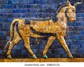 "ISTANBUL, TURKEY - OCTOBER 30: Glazed brick panel with Aurochs - details of the Babylonian ""Ischtar Tor"" (Ishtar Gate) in the  Istanbul Archaeology Museum on October 30, 2015 in Istanbul, Turkey"