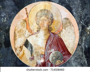 ISTANBUL, TURKEY - OCTOBER 31, 2015: Archangel Michael - ancient mural painting in Church of the Holy Saviour in Chora (Kariye Camii). Built in the 11th century and decorated in the 14th century.