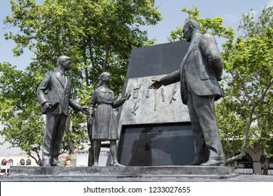 ISTANBUL, TURKEY - OCTOBER 31, 2018: Statue of Ataturk with child symbolizes the revolution of new Turkish alphabet.