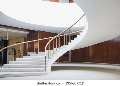 Istanbul, Turkey, October 31, 2018. An elegant white staircase spirals upwards. Archaeological Museum.