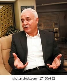 ISTANBUL, TURKEY - OCTOBER 5: Famous Turkish academics, theologians, preachers and television host Nihat Hatipoglu portrait on October 5, 2013 in Istanbul, Turkey.