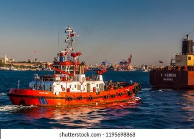Istanbul, Turkey, October 6, 2011: Coastguard's vessel on the Bosporus.