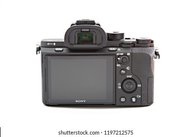 Istanbul, Turkey - October 6, 2018: Studio shot of Sony A7R II mirrorless camera isolated on white. The camera features the world's first 35mm backside illumination CMOS sensor.