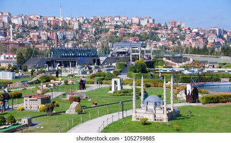 ISTANBUL TURKEY OCTOBER 6: Miniaturk is a park situated on Golden Horn in Istanbul, Turkey. It is one of the world's largest miniature parks on oct, 6 2013.