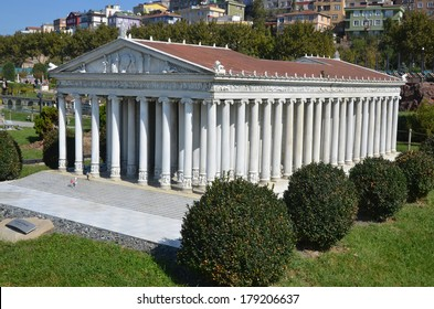ISTANBUL TURKEY OCTOBER 6:Temple of Artemis of Ephesus at  Miniaturk is a miniature park situated on Golden Horn in Istanbul, Turkey. It is one of the world's largest miniature parks on oct, 6 2013.