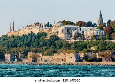 Istanbul, Turkey, October 8, 2011: Topkapi Palace seen from the Bosporus.