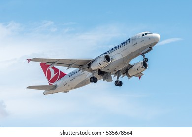 ISTANBUL, TURKEY - OCTOBER 8, 2016: Turkish Airlines Airbus A319 (TC-JLS) takes off from Istanbul Ataturk Airport. Plane name: Salihli.
