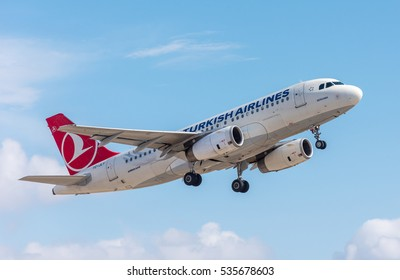 ISTANBUL, TURKEY - OCTOBER 8, 2016: Turkish Airlines Airbus A319 (TC-JLY) takes off from Istanbul Ataturk Airport. Plane name: BERGAMA.