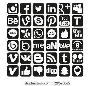 Istanbul, Turkey - October 8, 2017: Black and White Collection of popular social media logos printed on paper: Facebook, Instagram, Youtube, Vine, Badoo and others.
