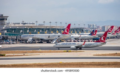 ISTANBUL, TURKEY - OCTOBER 9, 2016: Airplanes at Istanbul Ataturk Airport in Istanbul, Turkey.