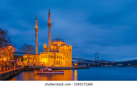 ISTANBUL, TURKEY- OKTOBER 24, 2017: Ortaköy mosque is very important and nice place for visitor of Istanbul.