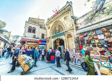 ISTANBUL, TURKEY- on April 12, 2018 : Exterior view of the Grand Bazar Gate.Unidentified Tourists visiting and shopping in the Grand Bazaar in Istanbul.