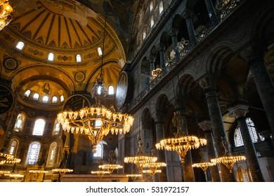 ISTANBUL, TURKEY on March 8: Hagia Sophia interior on March 8, 2016 in Istanbul, Turkey