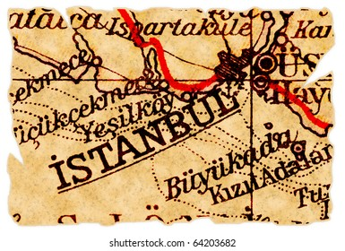 Istanbul, Turkey on an old torn map from 1949, isolated. Part of the old map series.