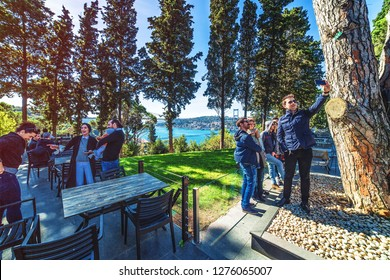 ISTANBUL, TURKEY: People enjoing nature and view of Fatih Sultan Mehmet Bridge in Beykoz district through the Mihribat nature park , on October 27, 2018