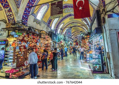 ISTANBUL, TURKEY: People shopping in the Grand Bazar, one of the largest covered markets in the world, on October 4, 2017