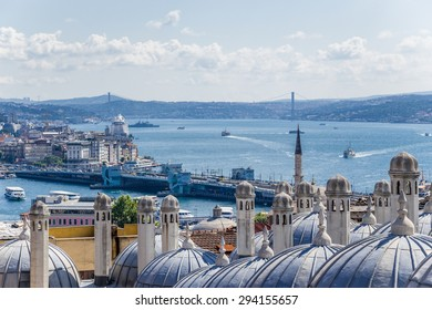 Istanbul, Turkey. The picturesque landscape with a domed buildings set Suleymaniye Mosque (1557) against the background of the Bosporus and the Golden Horn Bay