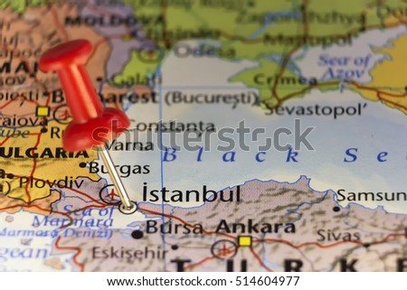 Istanbul Turkey Pinned Map Copy Space Stock Photo (Edit Now ...