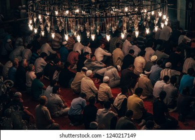 ISTANBUL, TURKEY - SEP 2, 2008: Praying in Eyup Mosque which is an important place for muslims in Istanbul