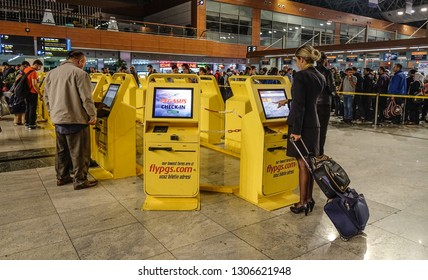 Istanbul, Turkey - Sep 28, 2018. Self check-in kiosks in Istanbul Sabiha Gokcen Airport (SAW). SAW is one of three airports serving Istanbul, with 30 million passengers in 2017.