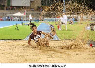 ISTANBUL, TURKEY - SEPTEMBER 04, 2020: Undefined athlete triple jumping during Turkish Athletics Championships