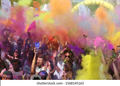 ISTANBUL, TURKEY - SEPTEMBER 08, 2019: People have fun in colors during Color Sky 5K run in Istanbul