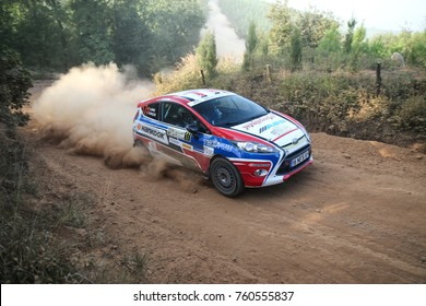 ISTANBUL, TURKEY - SEPTEMBER 09, 2017: Burak Baslik drives Ford Fiesta R2 of Ford Motorsport Turkey Team in ISOK Istanbul Rally