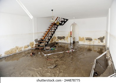 ISTANBUL, TURKEY - SEPTEMBER 09: Destroyed  houses in the after flood disaster on September 09, 2009 in Istanbul, Turkey.