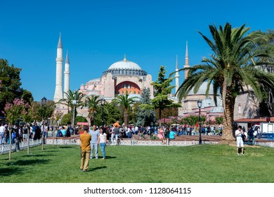 ISTANBUL, TURKEY, SEPTEMBER 1, 2017: People walking at Sultanahmet Square, Hagia Sophia can be seen at the background. Sultanahmet District is the heart of old Istanbul.