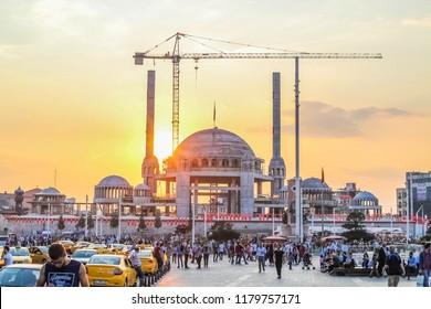 Istanbul, Turkey.  September 10, 2018. Taksim mosque construction, sunset.