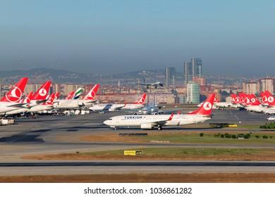 ISTANBUL, TURKEY - SEPTEMBER 12, 2013: Turkish Airlines hub in Ataturk International Airport.