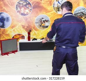 Istanbul - Turkey, September 12, 2015: Fire extinguish simulation game for training