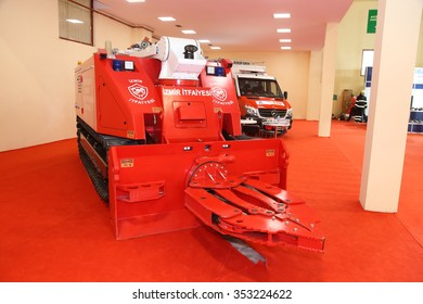 ISTANBUL, TURKEY - SEPTEMBER 12, 2015: Tracked fire truck in ISAF Security fair in Istanbul Fair Center