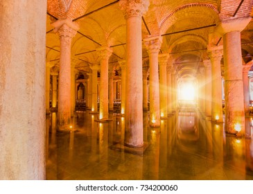 ISTANBUL, TURKEY - SEPTEMBER 13, 2016: Yerebatan Saray - Basilica Cistern in Istanbul, Turkey. Yerebatan Saray is one of favorite tourist attraction in Istanbul.