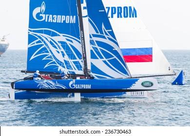 ISTANBUL, TURKEY - SEPTEMBER 14, 2014: Skipper Igor Lisovenko, Gazprom Team Russia competes in Extreme Sailing Series.