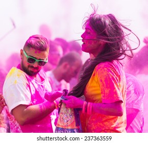 ISTANBUL, TURKEY - SEPTEMBER 14, 2014: People have fun in Istanbul Color Sky 5K.