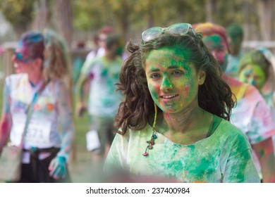 ISTANBUL, TURKEY - SEPTEMBER 14, 2014: A girl have fun in Istanbul Color Sky 5K.