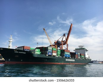 Istanbul, Turkey - September 15, 2019: Big cargo ship waiting to be loaded in the Istanbul port Kadikoy