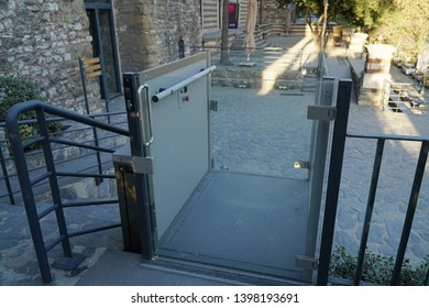 Istanbul, Turkey - September 17, 2017 : A wheelchair lift for disabled people at The Istanbul, Tophane-i Amire Art Center.