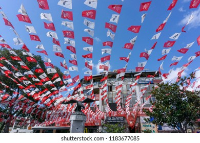 Istanbul / Turkey - September 18 2018: Turkey's main opposition party, Republician People's Party (CHP) flags.